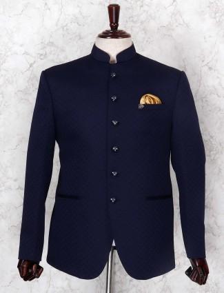 Textured navy hued jodhpuri blazer