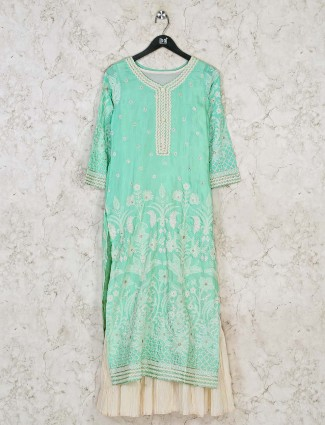Thread work aqua a-line style kurti for festival