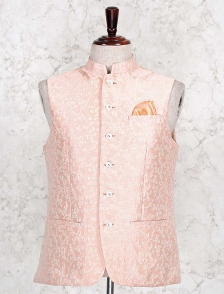 Thread woven peach cotton silk waistcoat