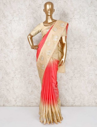 Thread zari red wedding semi silk saree
