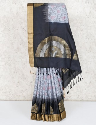 Thread zari weaving grey pure silk saree