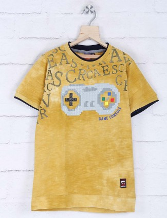 Timbuktu mustard yellow gaming printed t-shirt