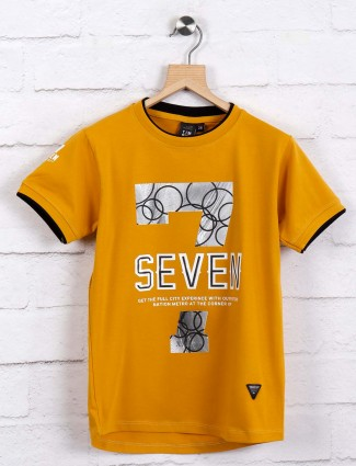Timbuktu mustard yellow printed t-shirt