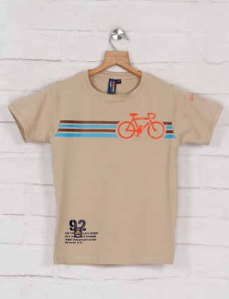 Timbuktuu beige printed cotton boys t-shirt