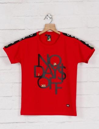 Timbuktuu printed red cotton t-shirt