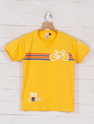 Timbuktuu yellow printed casual wear t-shirt