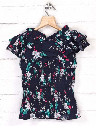 Tiny Girl casual navy printed top