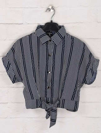 Tiny Girl cotton navy stripe top