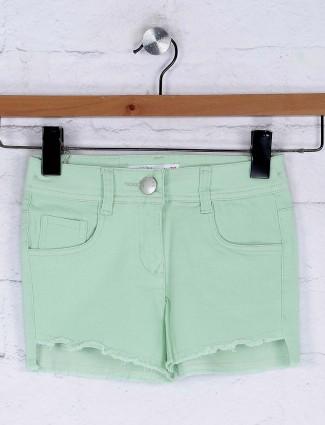 Tiny Girl plain light green casual denim shorts