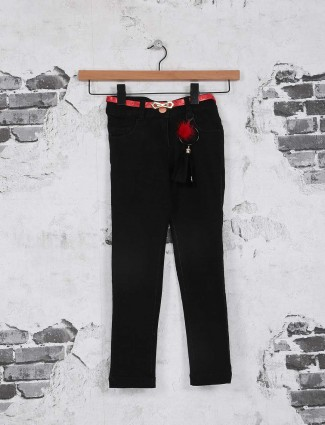 Tiny girl solid black denim jeans