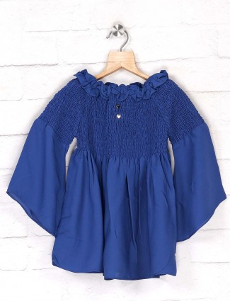 Tiny Girl solid blue round neck top