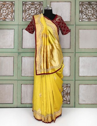 Tissue silk gold saree with ready made blouse