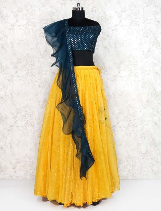 Tissue silk yellow color party wear lehenga choli