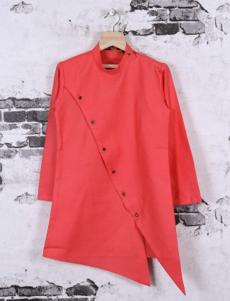 Tomato red color boys kurta suit