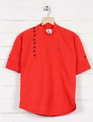 Tomato red cotton hue cotton kurta