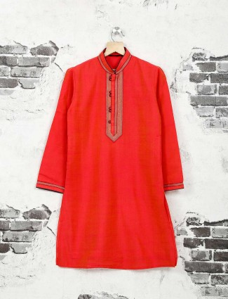 Tomatto red party wear cotton silk kurta suit