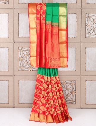 Traditional green and red color silk fabric saree
