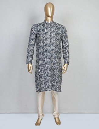 Trendy grey printed cotton mens kurta suit