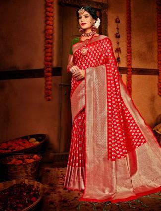 Trendy red banarasi silk for wedding session