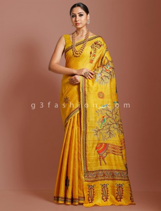 Khadi tussar silk gold saree in wedding occasion
