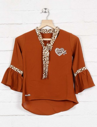 Twisty brown color lovely cotton top