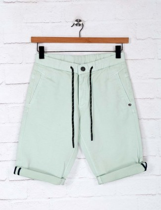 TYZ casual wear solid pista green short