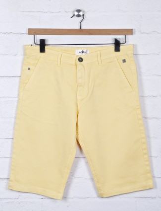 TYZ solid yellow slim fit casual short