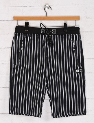 TYZ stripe black cotton shorts