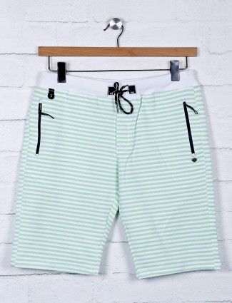 TYZ stripe green cotton slim fit shorts