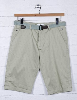 TYZ stripe pista green cotton shorts