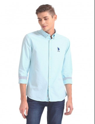 U S Polo Assn aqua solid cotton fabric shirt