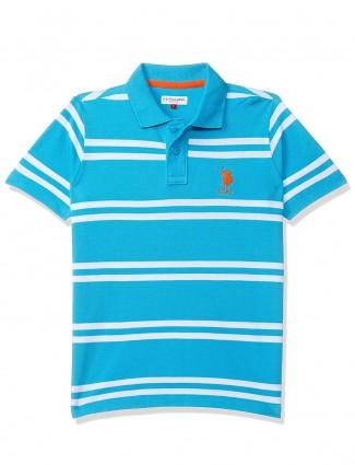 U S Polo Assn aqua stripe cotton t-shirt