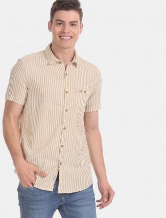 U S Polo Assn beige stripe half sleeves shirt