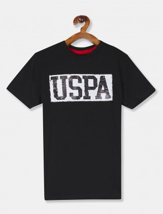 U S Polo Assn black printed boys t-shirt