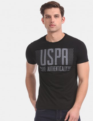 U S Polo Assn black printed cotton t-shirt for mens