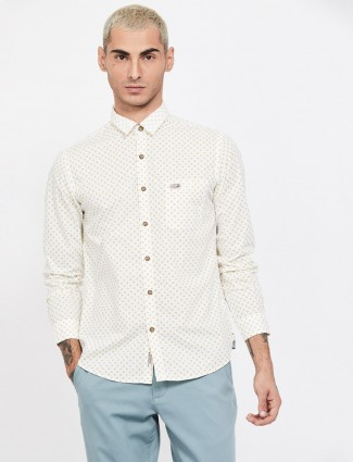 U S Polo Assn cream printed shirt