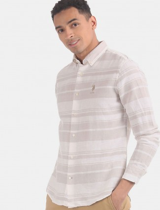 U S Polo Assn cream stripe design shirt