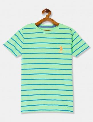 U S Polo Assn green stripe round neck t-shirt