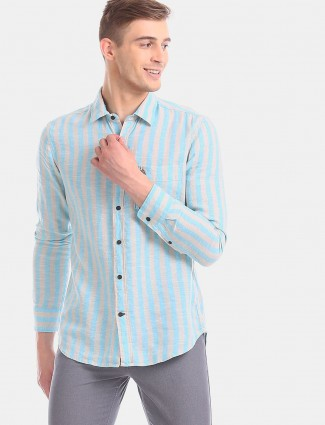 U S Polo Assn linen aqua slim fit shirt