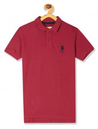 U S Polo Assn maroon solid polo t-shirt