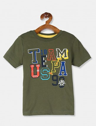 U S Polo Assn printed olive cotton t-shirt