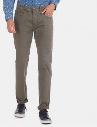 U S Polo Assn slim tapered solid olive jeans
