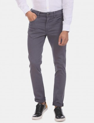 U S Polo Assn solid grey slim tapered jeans