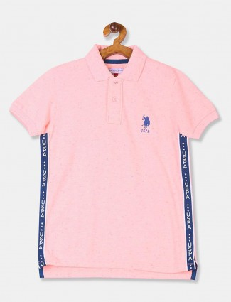 U S Polo Assn solid pink slim fit t-shirt