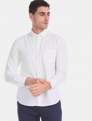 U S Polo Assn white solid shirt