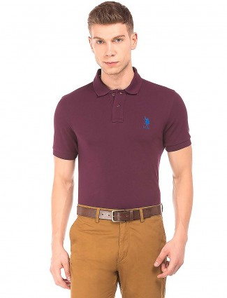 U S Polo Assn wine purple color t-shirt