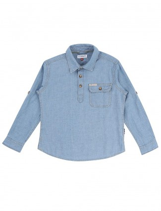U S Polo cotton blue hue shirt