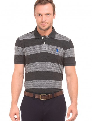 U S Polo grey and black stripe t-shirt
