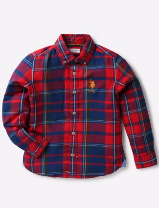 U S Polo navy and red checks shirt