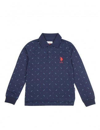 U S Polo navy printed polo neck t-shirt